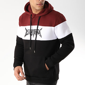 Neochrome - Sweat Capuche Destroy Bordeaux Blanc Noir