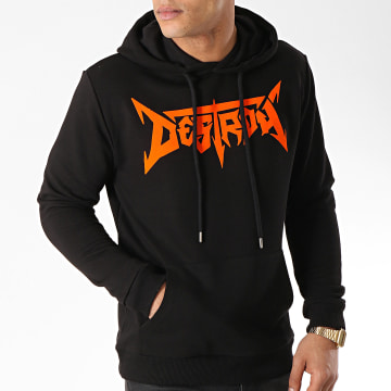 Seth Gueko - Sweat Capuche Destroy Noir Orange