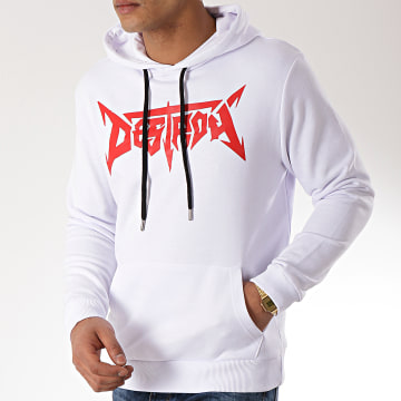 Neochrome - Sweat Capuche Destroy Blanc Rouge