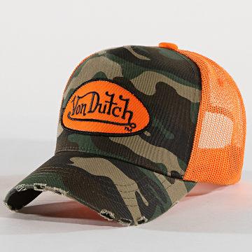 Von Dutch - Casquette Trucker Camo06 Orange Vert Kaki Camouflage