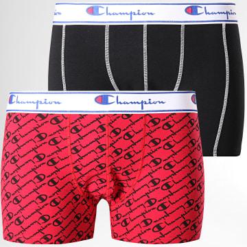 Lot De 2 Boxers Y081W Rouge Noir Blanc