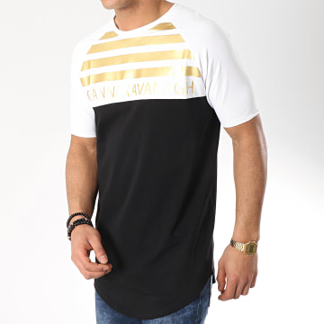 Tee Shirt Oversize GK Gold Stripes Blanc Noir Doré