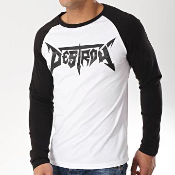 Neochrome - Tee Shirt Manches Longues Raglan Destroy Blanc Noir