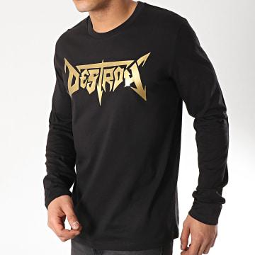 Neochrome - Tee Shirt Manches Longues Destroy Noir Doré
