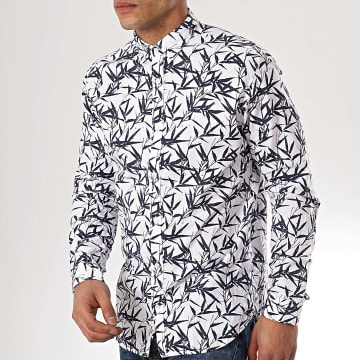 Jack And Jones - Chemise Manches Longues Summer Print Blanc Bleu Marine Floral