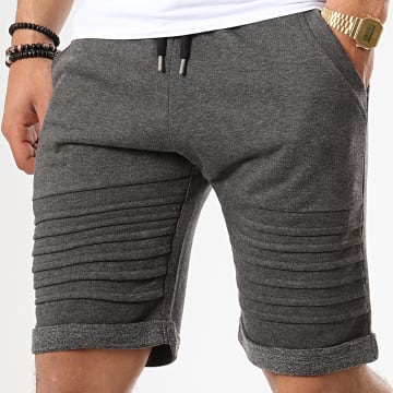Short Jogging Avec Empiecements 650 Gris Anthracite Chiné