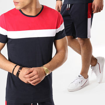 LBO - Ensemble Tee Shirt Et Short Avec Bandes 679 Bleu Marine Blanc Rouge