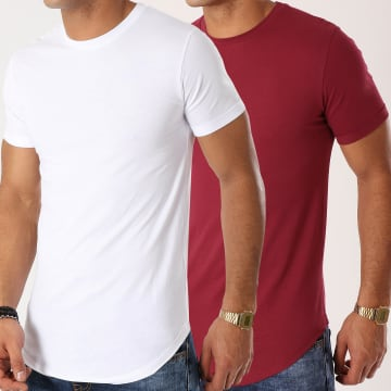 Lot de 2 Tee Shirts Oversize 715 Bordeaux Et Blanc