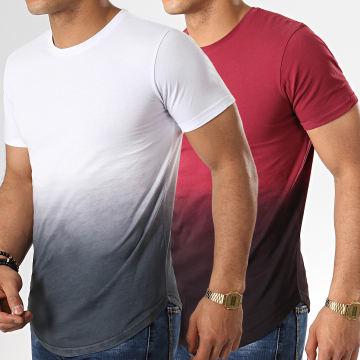 LBO - Lot de 2 Tee Shirts Oversize Dégradé 717 Bordeaux Blanc Noir