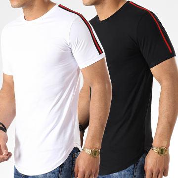 LBO - Lot de 2 Tee Shirts Oversize Avec Bandes 713 Noir Et Blanc