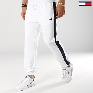 Pantalon Jogging Avec Bandes Flag 0062 Blanc Bleu Marine