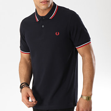 Fred Perry - Polo Manches Courtes Twin Tipped M3600 Bleu Marine Blanc Rouge