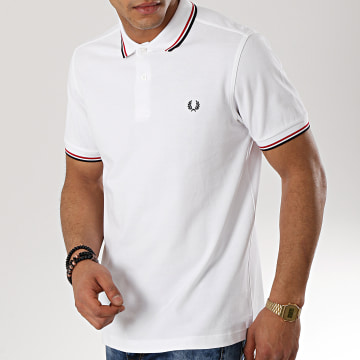 Fred Perry - Polo Manches Courtes Twin Tipped M3600 Blanc Noir Rouge