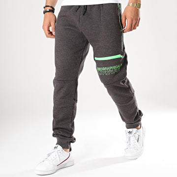 Geographical Norway - Pantalon Jogging Moltan Gris Anthracite Chiné Vert Fluo