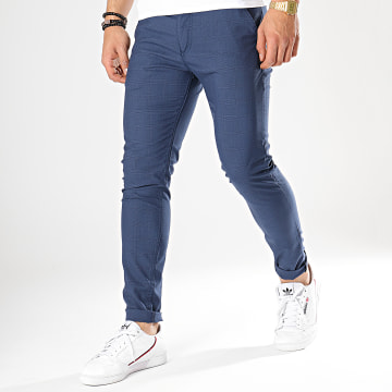 Black Needle - Pantalon A Carreaux 1014 Bleu Marine