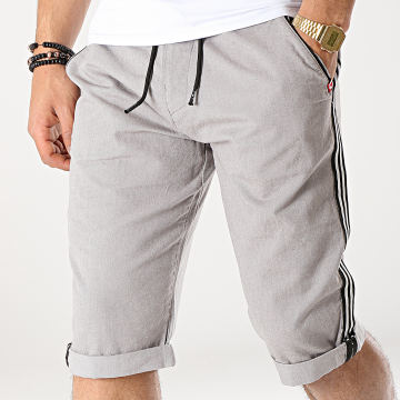 MZ72 - Short Chino A Bandes Foxing Gris Clair