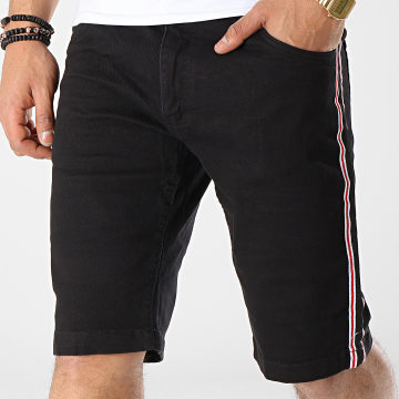 MZ72 - Short Jean A Bandes Fold Noir