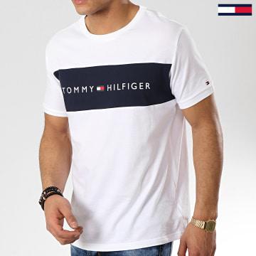 Tommy Hilfiger - Tee Shirt Logo Flag 1170 Blanc Bleu Marine