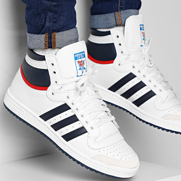 Adidas Originals - Baskets Top Ten HI D65161 White Onyx Collegiate Red