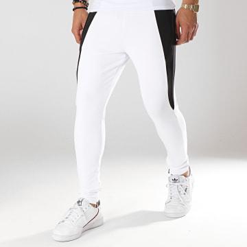 Pantalon Jogging Contrast Panels Blanc Noir