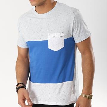 MZ72 - Tee Shirt Poche Taffy Bleu Clair Bleu Roi Gris Chiné