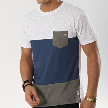MZ72 - Tee Shirt Poche Taffy Gris Chiné Bleu Marine Gris Anthracite