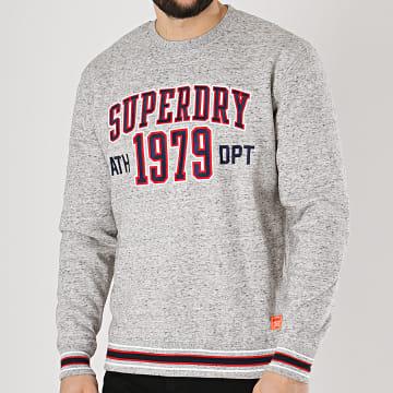 Superdry - Sweat Crewneck College Boxy Fit Applique Gris Chiné