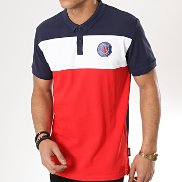 Polo Manches Courtes Color Block Paris Saint-Germain P12892 Bleu Marine Blanc Rouge