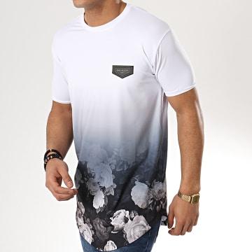 Tee Shirt Oversize Faded Nostalgic Blanc Dégradé Noir Floral