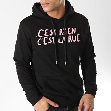 C'est Rien C'est La Rue - Sweat Capuche Logo Noir Rose