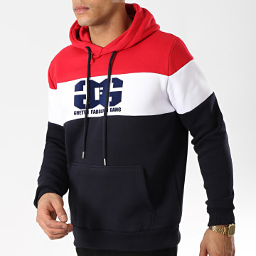 Ghetto Fabulous Gang - Sweat Capuche Gang Tricolore Bleu Marine Rouge Blanc