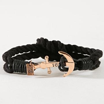 Icon Brand - Bracelet Captain Flint Noir Doré
