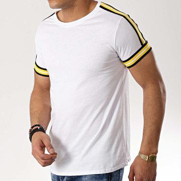 Tee Shirt Avec Bandes B8103 Blanc Jaune