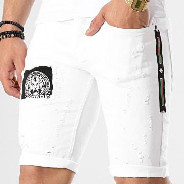Short Jean Patchs Brodés 6161 Blanc