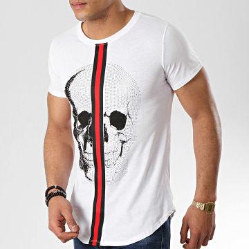 Tee Shirt Oversize Avec Bandes 9088 Blanc