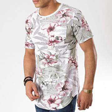 Tee Shirt Poche Oversize 815616 Blanc Floral