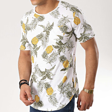 Tee Shirt Poche Oversize 8156 Blanc Floral