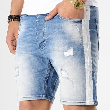 Short Jean Slim A Bandes 3261 Bleu Wash