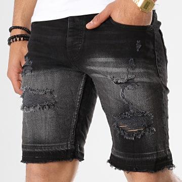 Short Jean Slim 1095 Noir Gris Dégradé
