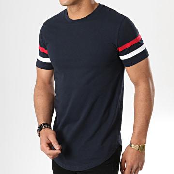 Tee Shirt Oversize Avec Bandes Tricolore 722 Bleu Marine