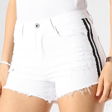 Short Jean Femme Avec Bandes 29270B Blanc Noir