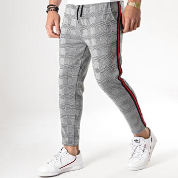 Pantalon Carreaux Avec Bandes Noir Rouge 18-228-4 Gris Noir