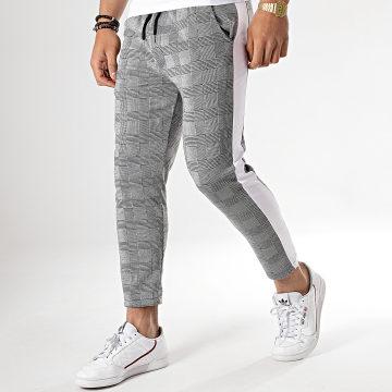 Aarhon - Pantalon Carreaux Avec Bande Blanche 18-228-3 Gris Noir