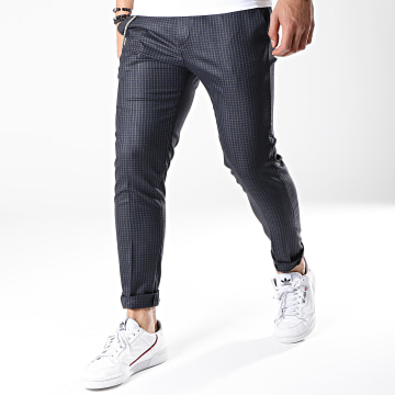 Ikao - Pantalon Carreaux F559 Bleu Marine Marron