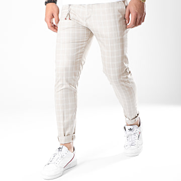 Ikao - Pantalon Carreaux F558 Beige