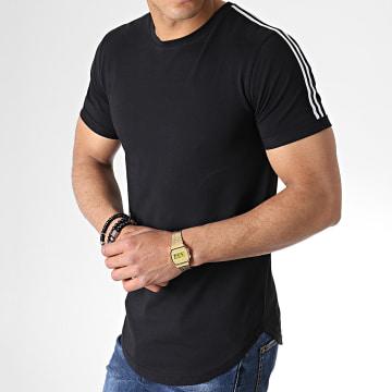 Tee Shirt Oversize Avec Bandes Noir Et Blanc 712 Noir