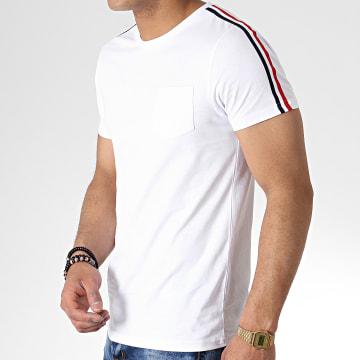 Tee Shirt Avec Bandes Tricolore 724 Blanc