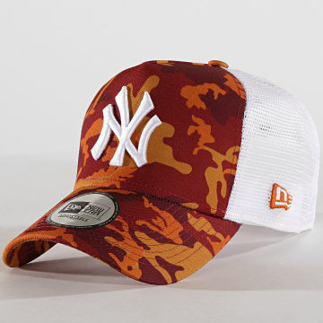 Casquette Trucker Camouflage New York Yankees 11945567 Blanc Bordeaux Orange Camouflage