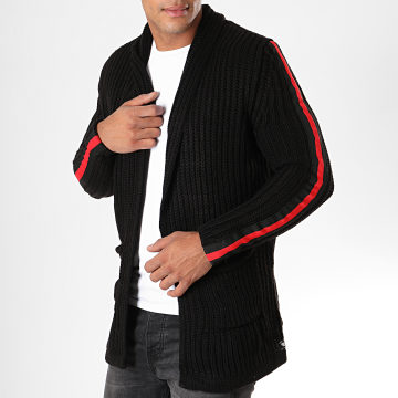 Paname Brothers - Gilet A Bandes 320 Noir Rouge
