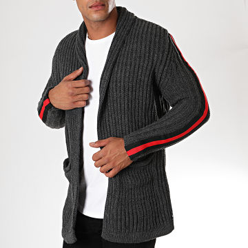 Paname Brothers - Gilet A Bandes 320 Gris Anthracite Rouge Noir